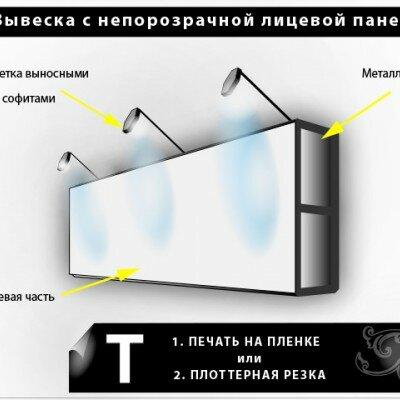 вывеска с непрозрачной панелью