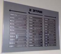 Информационный стенд из цветного пластика с  накладными объемными элементами и карманами из оргстекла 2 мм